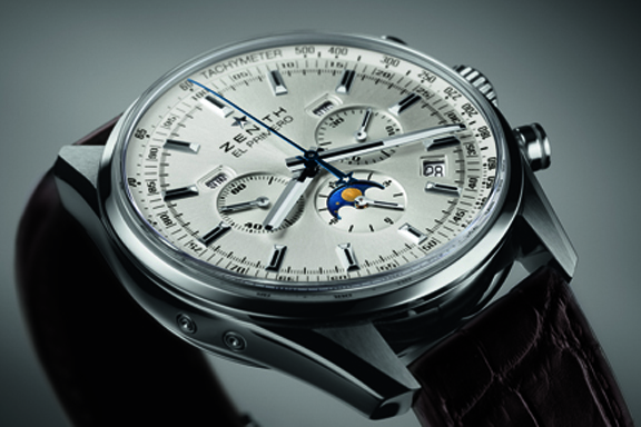 A close up look at the silvered dial of the new Zenith El Primero 410
