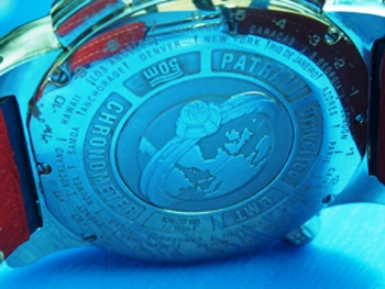 The engraved caseback futher underscores the complexity and functionality of this Patravi TravelTec