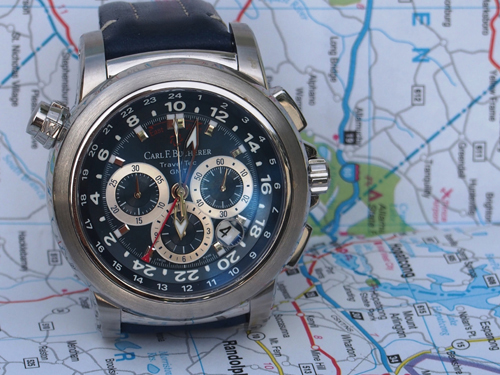 The Car F. Bucherer Patravi Travel Tec offers time in 3 zones