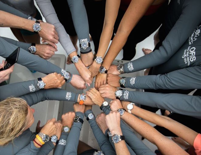 It was all hands in -- complete with Oris watches -- on deck.
