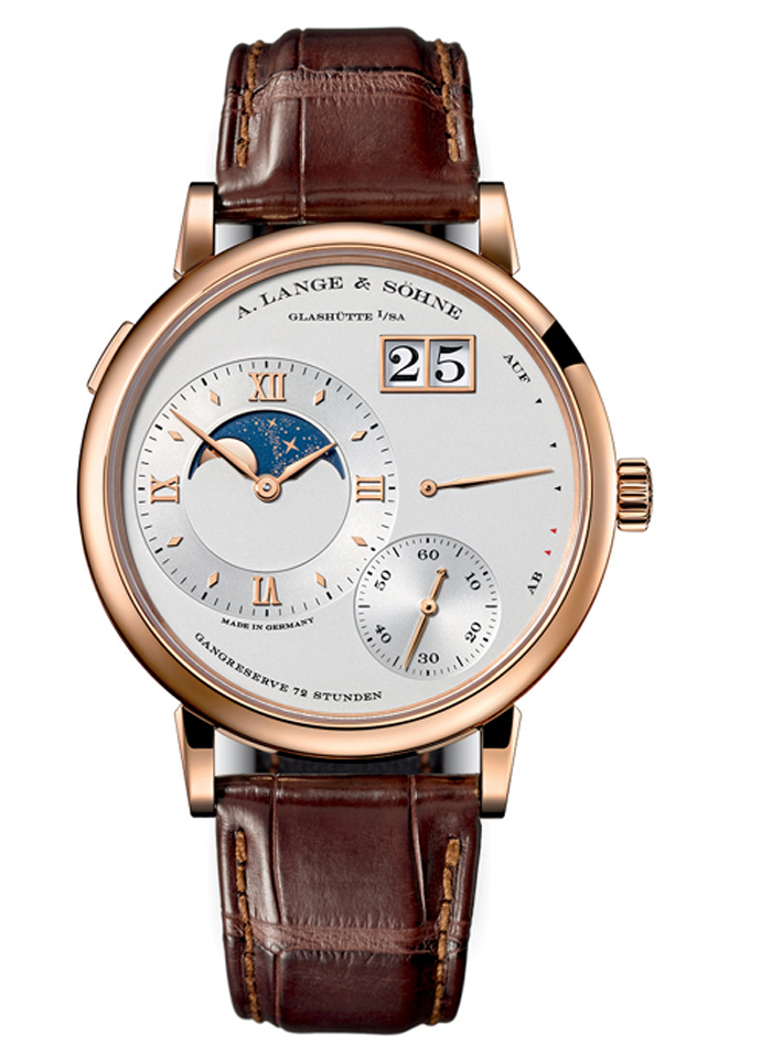The Grand Lange 1 Moonphase feaures a patented coating on the moonphase indicator.