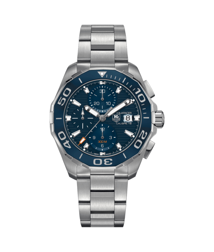 NHL Hockey Player Henrik Lundqvist wears, among others, this TAG Heuer Aquaracer Automatic Chronograph 300 meter with caliber 16 movement and ceramic bezel.