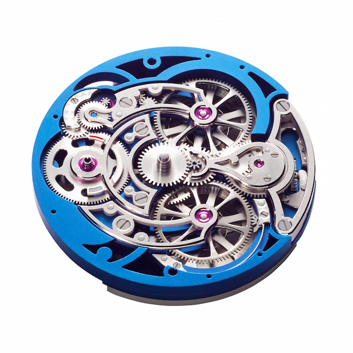 The layered skeletonize movement is finished in a blue hue.