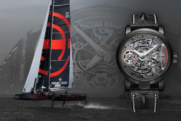 Armin Strom's new GC32 Catamaran along side the Skeleton Pure Earth