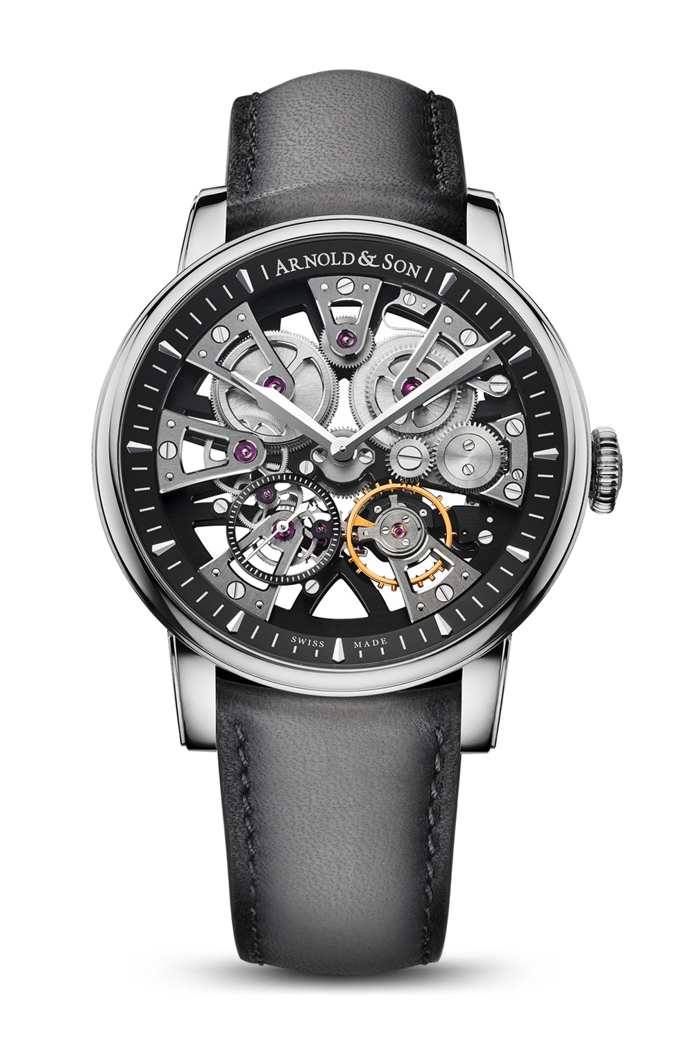 The watch is a time-only piece with incredible architecture