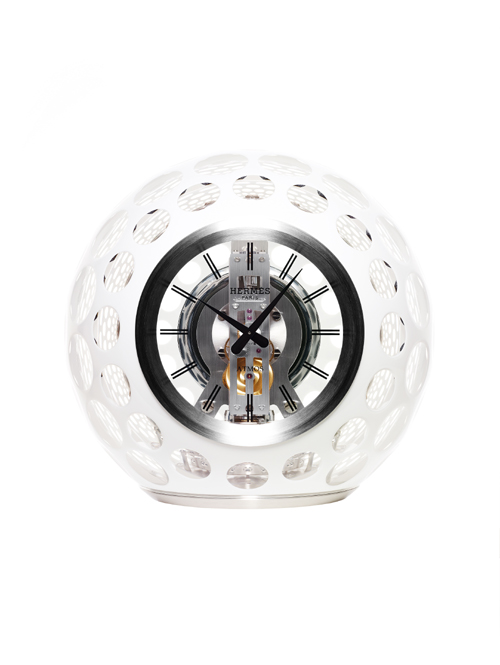 Jaeger-LeCoultre teamed with Hermes and Les Cristalleries de Saint-Louis to co-produce an Atmos Hermes clock.