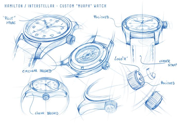 "Hamilton drawings of the Khaki Special Edition Interstellar worn by ""Murph"""