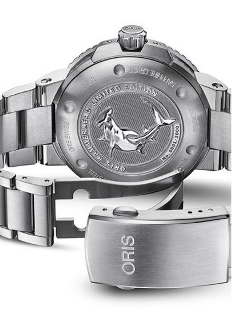 The case back of the Oris Hammerhead Limited Edition watch is engraved with a hammerhead shark image.