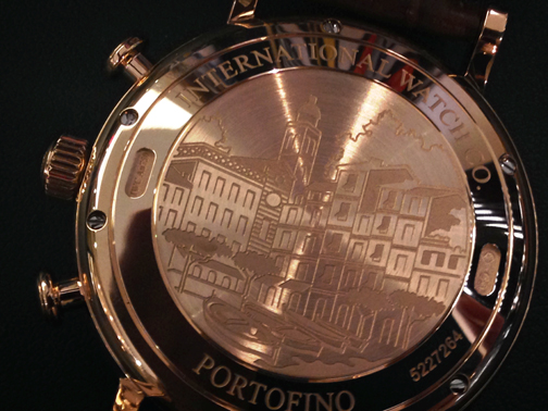The case back is engraved with a scene from Portofino.