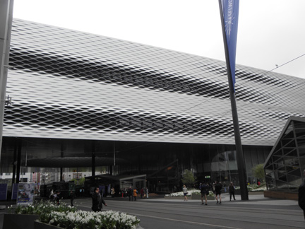 The walkway across the halls as seen from outside BaselWorld.