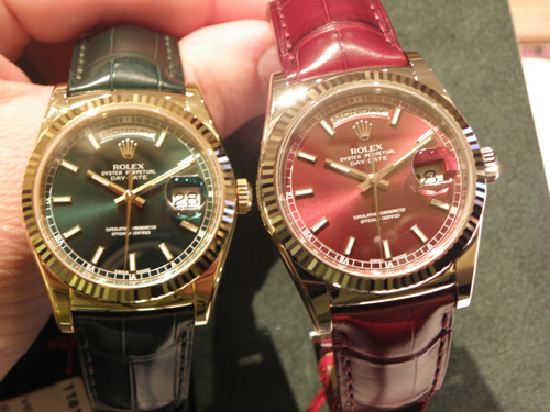 Rolex Oyster Perpetual Day Date in Green and Cherry Red