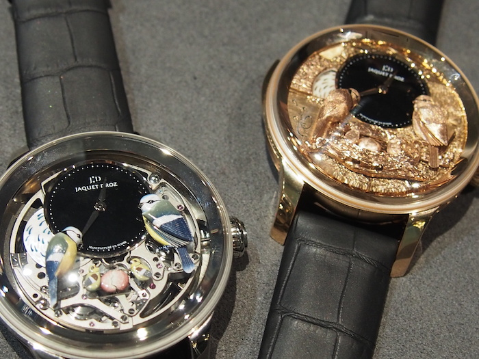 Two previous versions of the Jaquet Droz Bird Repeater watches
