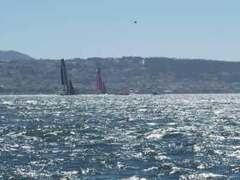 Oracle Team USA and Emirates Team New Zealand faced off today for the first 2 races of the America's Cup.