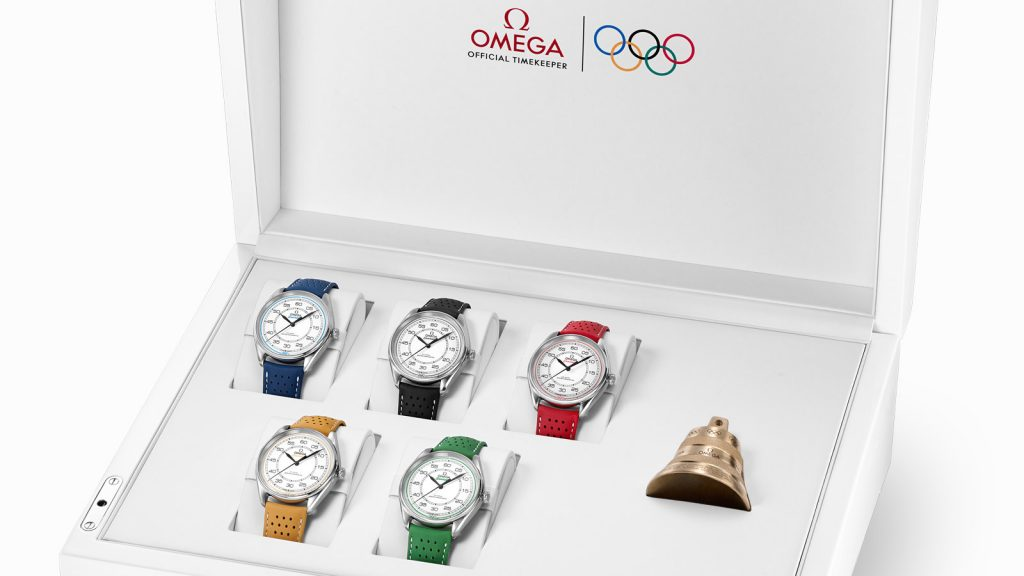 Omega Olympic Games Limited Edition set with watches crafted in each of the Rings of the Olympics colors and a bell crafted in the same foundry as the last-lap bells for the Olympics.