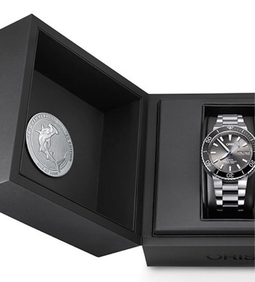 The Oris Hammerhead Limited Edition watch is sold in a presentation box with shark medallion.