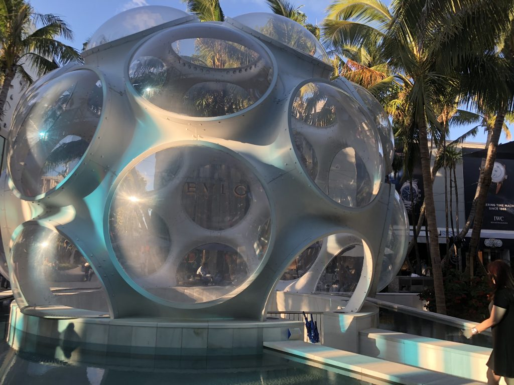 Buckminster Fuller Fly's Eye Dome in Palm Court, Miami Design District
