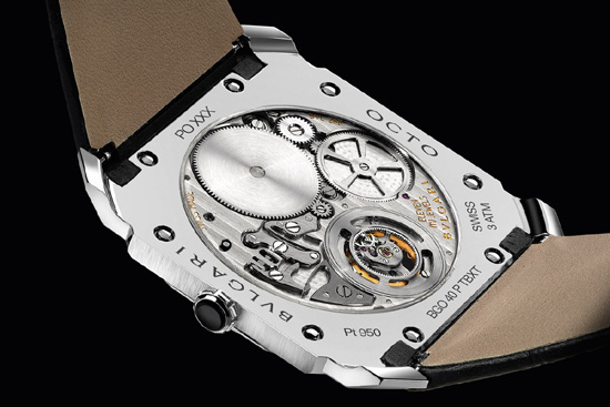 The back of the Bulgari Octo Finissimo, the watch with the thinnest tourbillon movement.