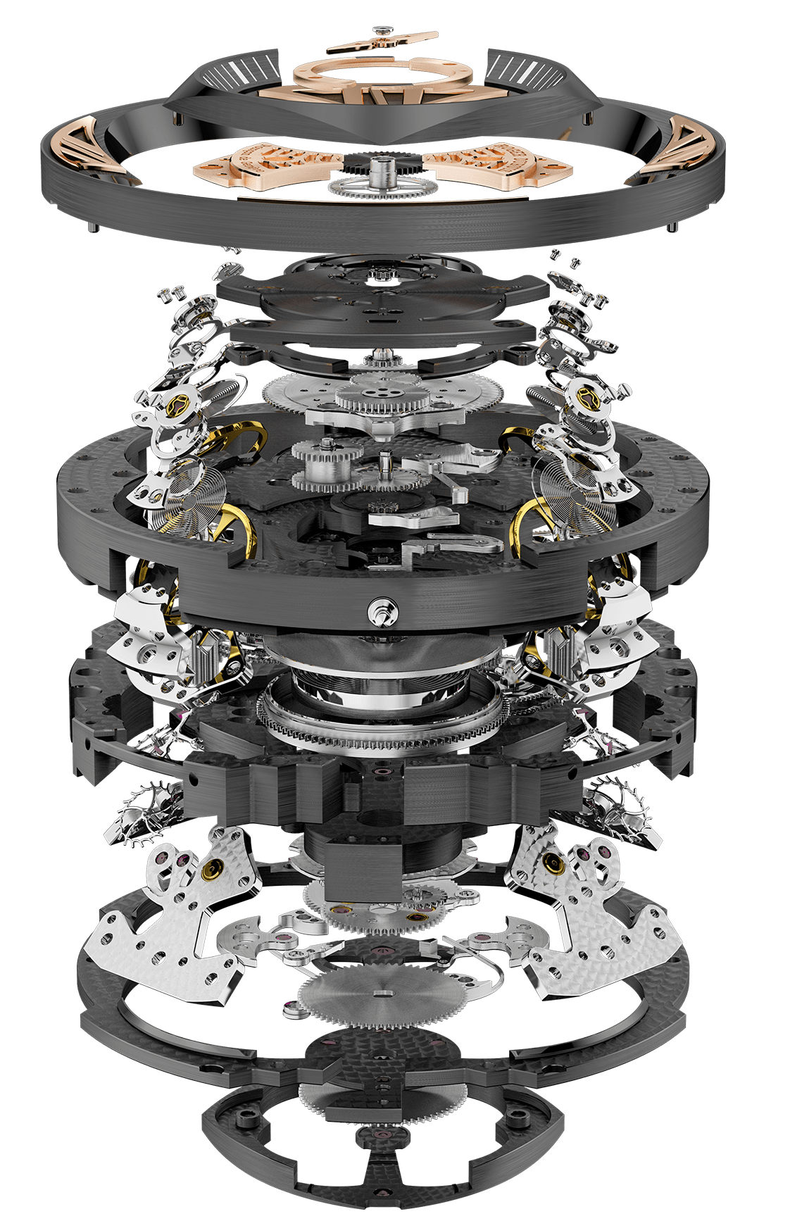 The RD101 caliber consists of 590 parts.
