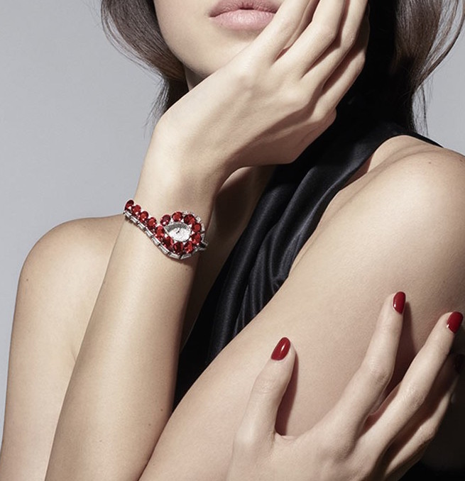 The Cartier Trait Eclat watch is set with baguette and brilliant-cut diamonds.