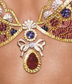 The center ruby in the Fantasy Bra weighs 52 carats.