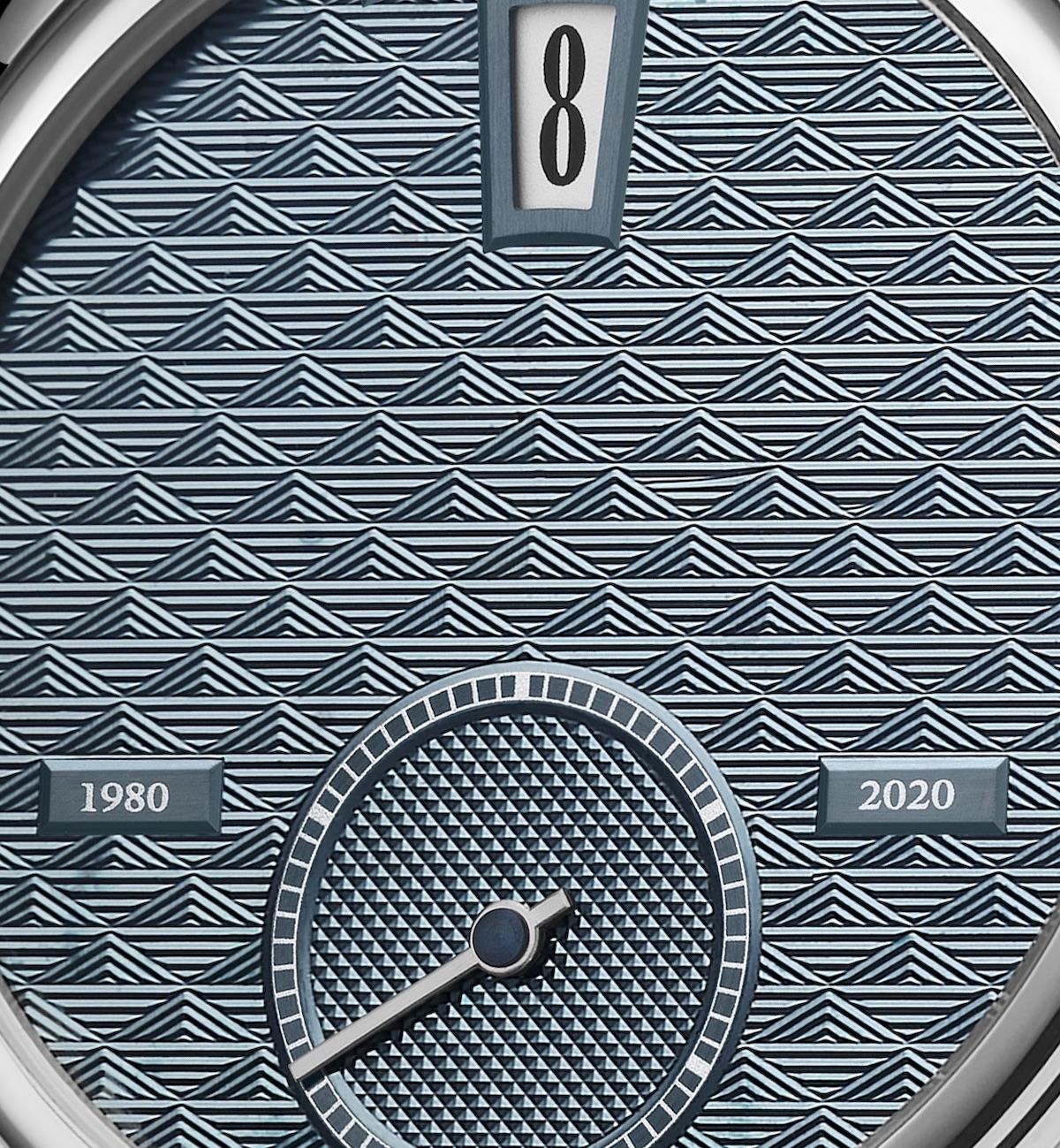 Andersen Genève platinum 40th Anniversary Jump Hour watch.