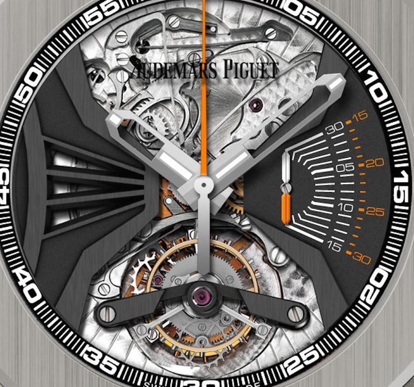 The Audemars Piguet Royal Oak Acoustic Concept Watch houses a tourbillon escapement, column-wheel chronograph and high-volume minute repeater
