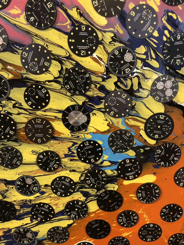Close-up of Damien Hirst, Panerai art on display at Watches & Wonders Miami