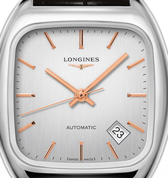 The Longines Heritage 1969 watch is based on an archival piece and features gold stick markers and date at 4:30.