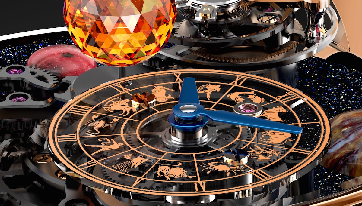 The Jacob & Co. Astronomia Solar features a sub-dial in sapphire that depicts the hours and minutes, as well as the astrological signs.