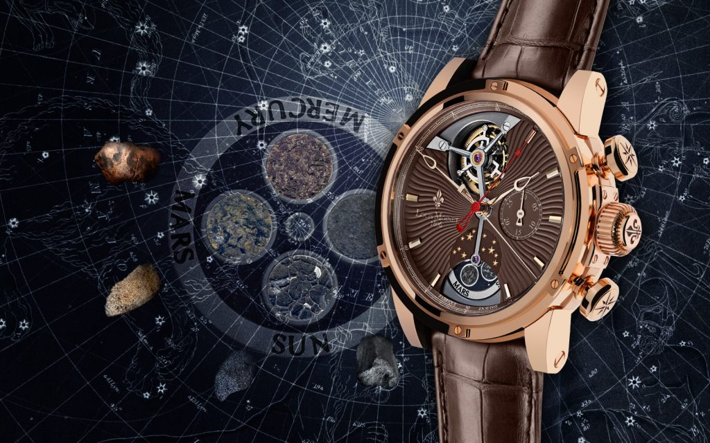 The Louis Moinet Astralis Mars watch offers a meteorite dial.