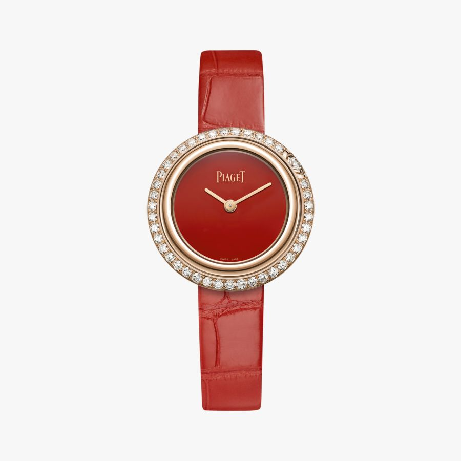 Piaget Possession watch, 29 mm in18K rose gold set with 42 brilliant-cut diamonds (approx. 1.04 ct). Natural carnelian dial, interchangeable straps. powered by the Piaget 56P quartz movement.