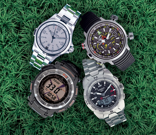 Victorinox Swiss Army Night Vision ($695), Citizen Eco-Drive Altichron ($850), Tissot T-Touch Expert ($1,1,75), Casio Pro Trek ($250)