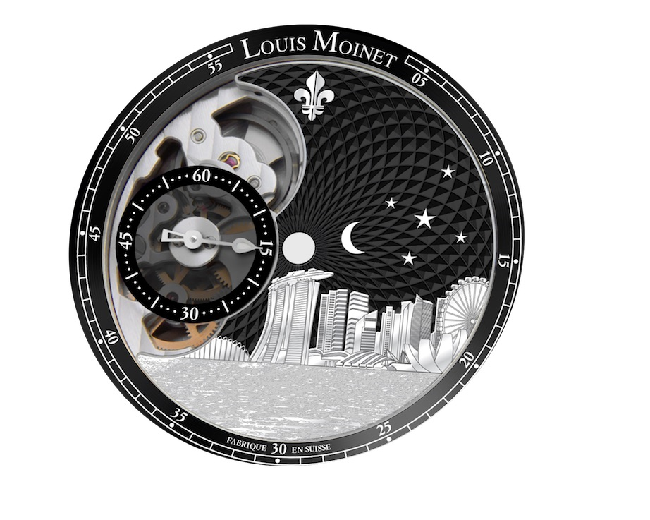 A study of the dial of the Louis Moinet Singapore Edition watch depicts the moon and five stars (to emulate the flag of the Lion City), engraved buildings and a concentric motif on the dial.