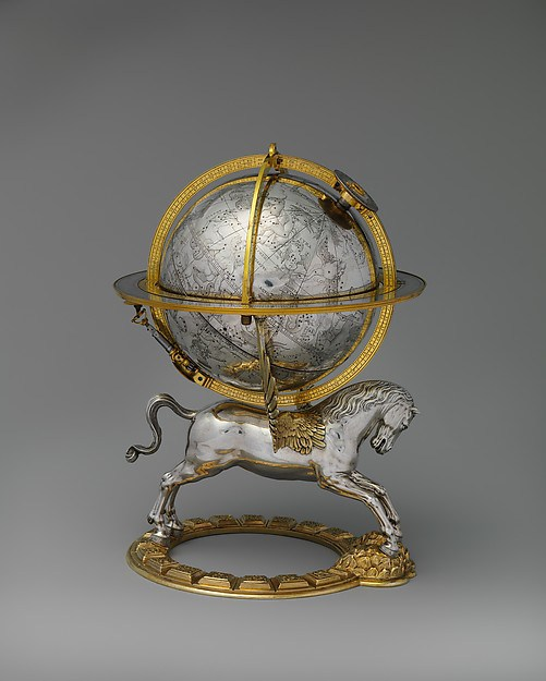 Celestial globe with clockwork; Circa 1579; Culture: Austrian, Vienna; Maker: Gerhard Emmoser (German, active 1556–84); Medium: Case: partly gilded silver and gilded brass; Movement: brass and steel. Gift of J. Pierpont Morgan, 1917