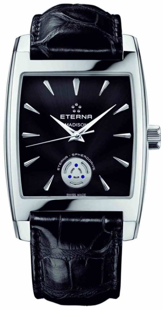 "The Eterna Spherodrive caliber was housed inside a rectangular ""Madison"" case."