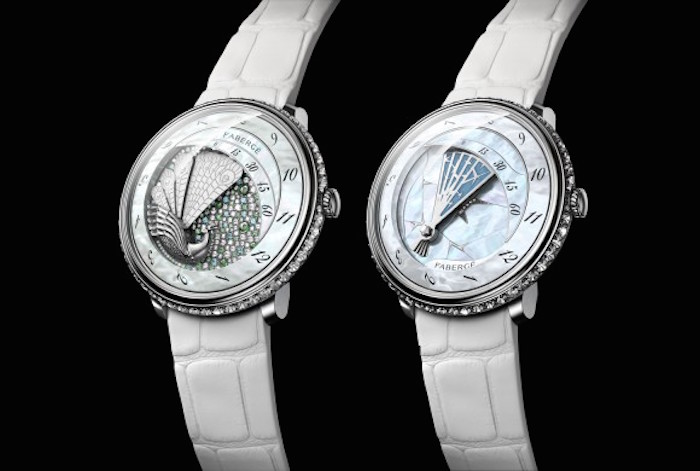 Faberge Lady Compliquee Winter and Peacock watches