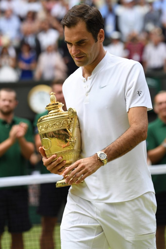 Roger Federer earlier this year at Wimbledon, wearing his Rolex.