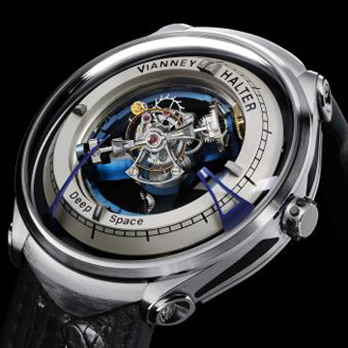 Innovation Prize: Vianney Halter Deep Space Tourbillon. Rather than a scientific instrument, this watch is a philosophical artifact that not only displays the time, but also motion in the dimension of space. It is a triple axis central tourbillon watch. Price: 202'500 CHF