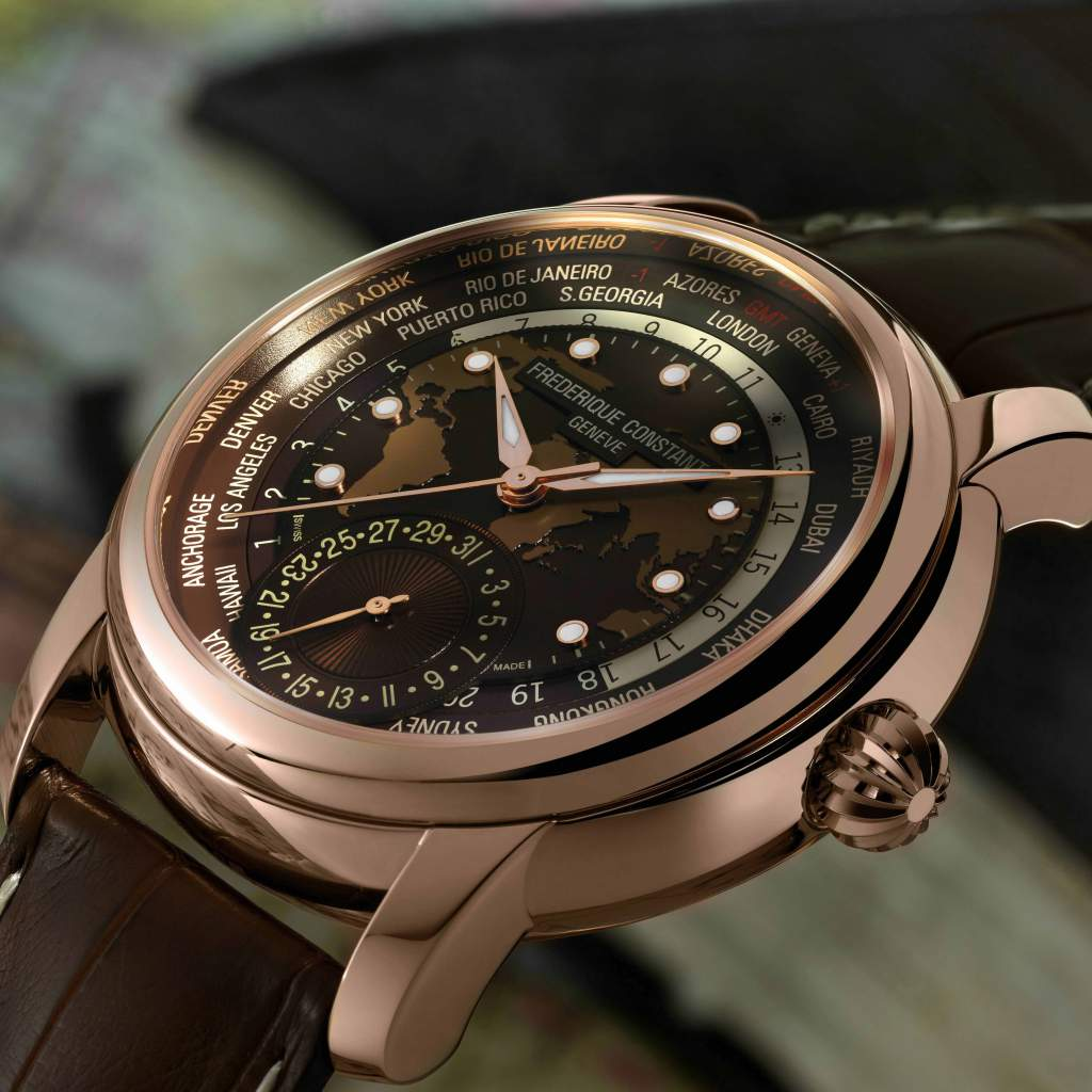 Frederique Constant World Timer Manufacture watch for GPHG 2017 Time-Travel category.