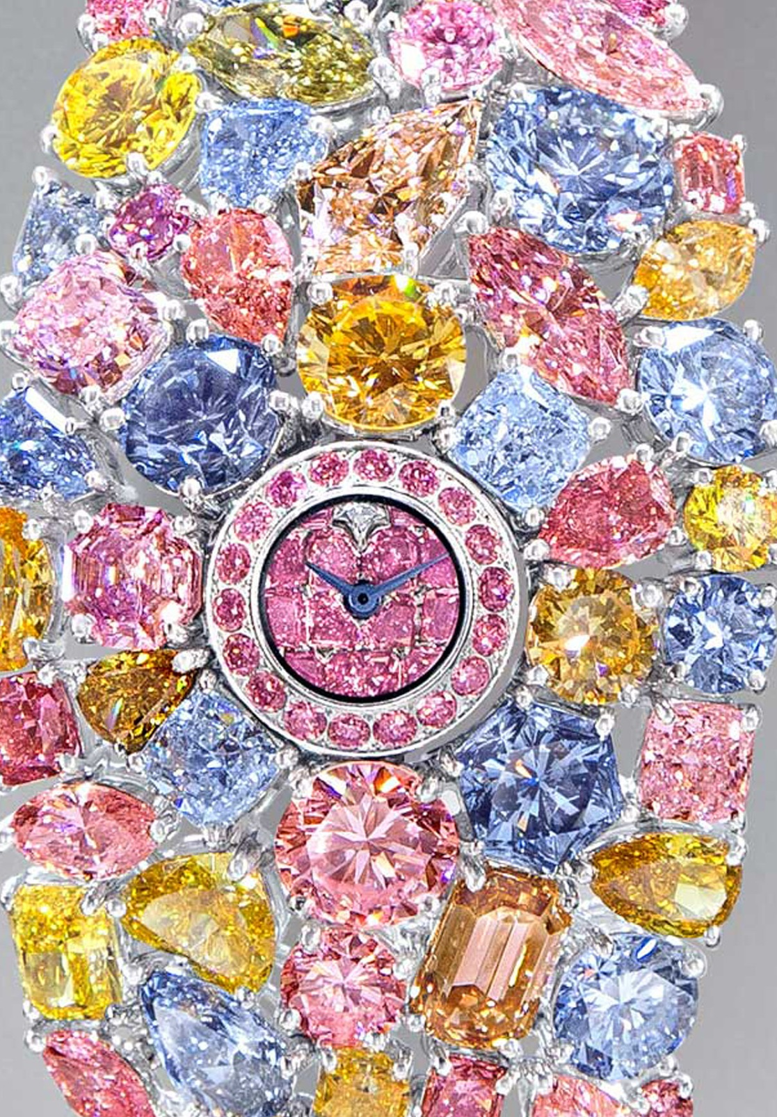 The tiny dial of the Graff Hallucination consists of fancy-colored pink diamonds with one white diamond at 12:00.