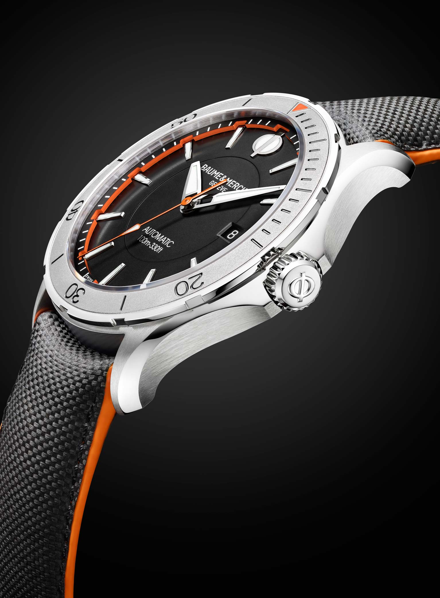 Each Baume & Mercier Clifton Club Collection watch features bold orange accents.