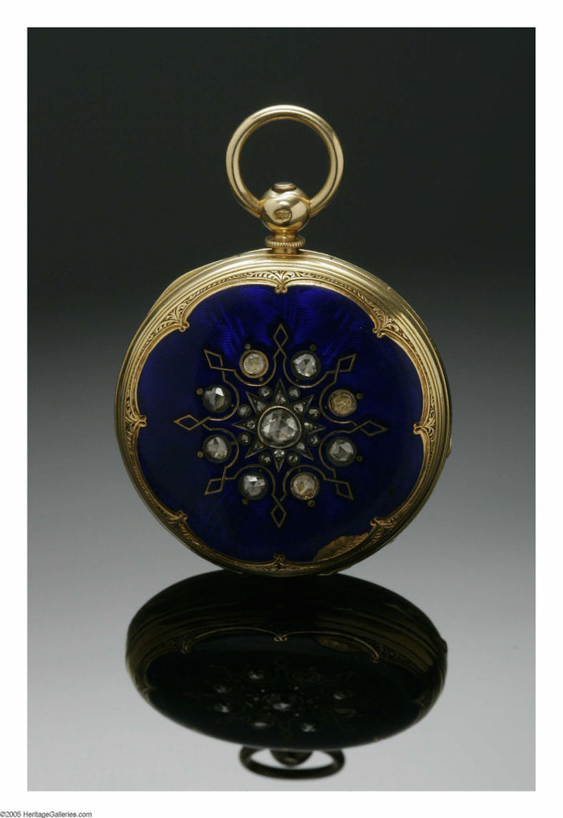 Circa 1841 gold, enamel and diamond pocket watch that Abraham Lincoln bought for Mary Todd as a wedding gift.
