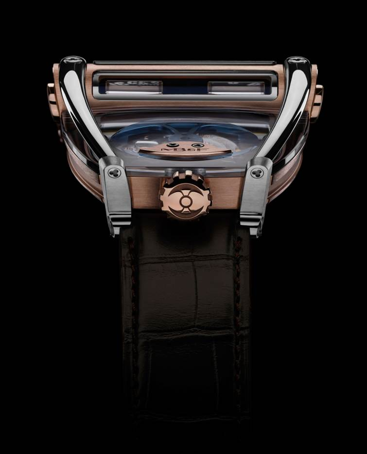 The roll bars of the MB&F HM8 Can Am watch seem to be protecting the sapphire case and battle axe rotor within a cradle.