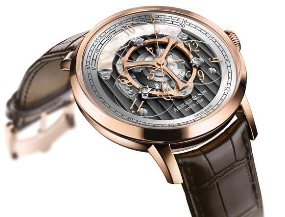 The Arnold & Son Golden Wheel watch is a patented piece that combines wandering hours with true beat seconds.