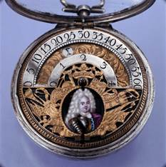 Paul Lullin, pocket watch with wondering hours indication, silver, brass and enamel, case signed AH, London, beginning of the 18th century © Musée international d'horlogerie (MIH)