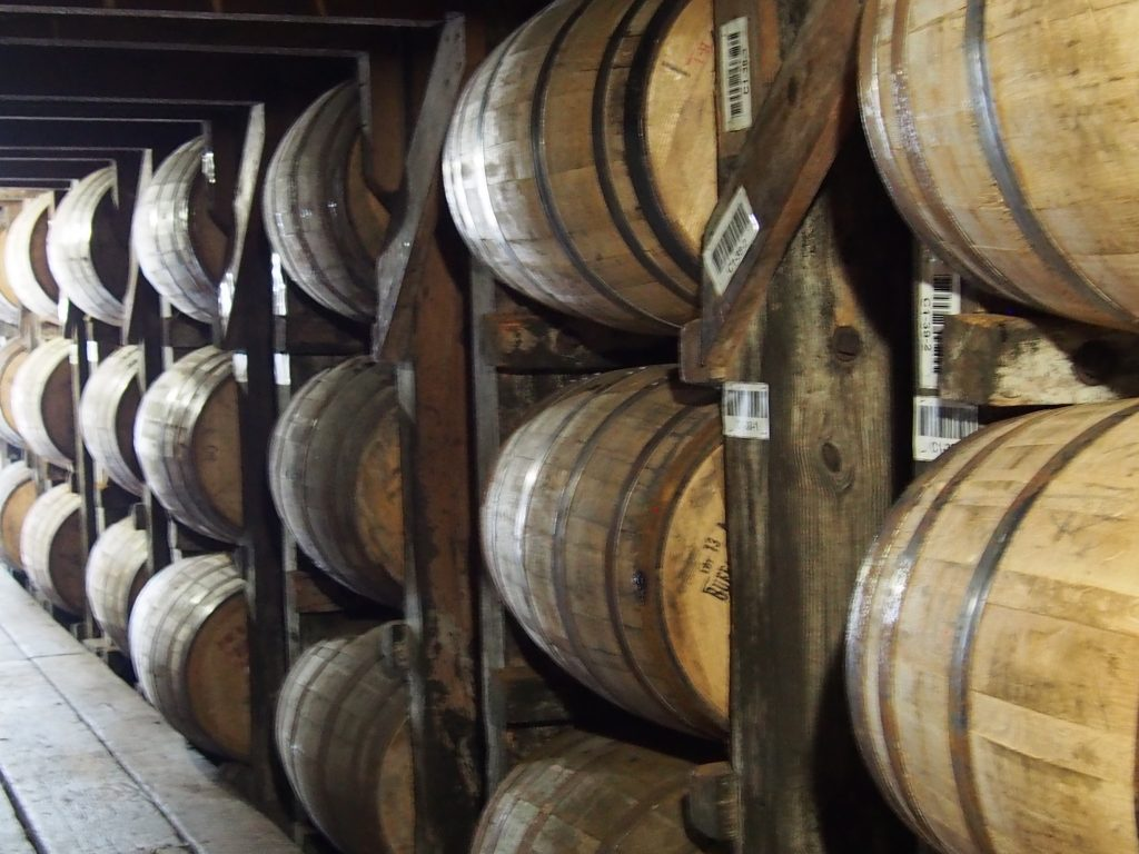 Inside the barrel aging facility at Buffalo Trace