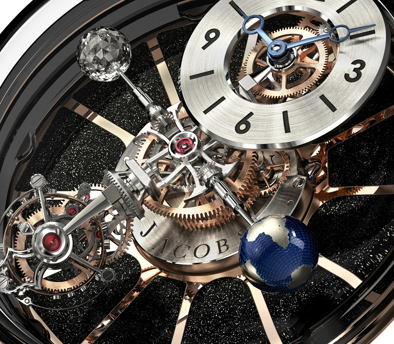 The watch features four axes, each holding a differrentfeature, including the time, tourbillon, moon and earth renditions.