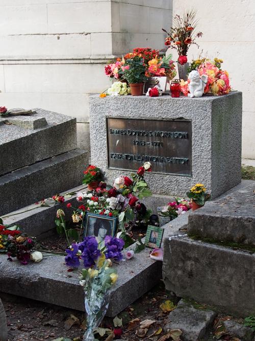 AT Pere Lachaise Cemetery in Paris -- Jim Morrison's Grave.