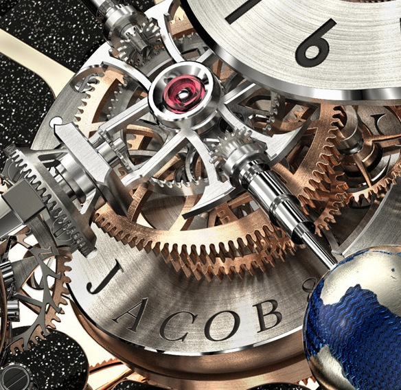 The watch movement houses 235 parts.