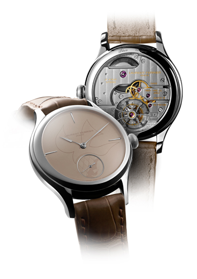 Laurent Ferrier Dove Watch is a symbolic timepiece demonstrating the brand's commitment to the cause. It houses the Tourbillon Double Spiral inside a galet-shaped case with a unique sand-toned grand feu enameled dial.